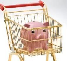 piggy bank in cart