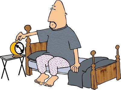 cartoon man waking up with alarm clock