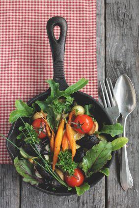 veggies in cast iron pan