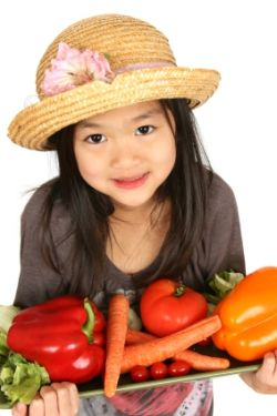 Kid with Veggies